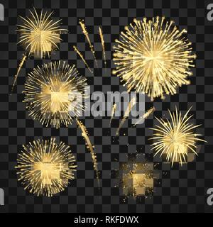 Gold Festival fireworks set. Carnival fireworks holiday background. Vector illustration isolated on dark background - Stock Photo