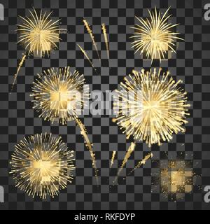 Gold Festival fireworks set. Colorful carnival fireworks holiday background. Vector illustration isolated on dark background - Stock Photo