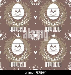 Easter brown seamless pattern in vintage style. - Stock Photo