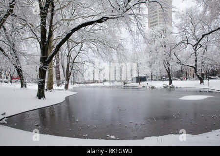 pond at the Theodor-Heuss-Ring near the square Ebertplatz, snow, winter, Cologne, Germany.  Weiher am Theodor-Heuss-Ring nahe Ebertplatz, Schnee, Wint - Stock Photo