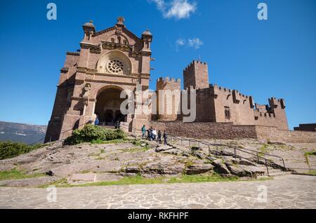 Tourist visiting famous Javier Castle in Navarra, Spain. - Stock Photo
