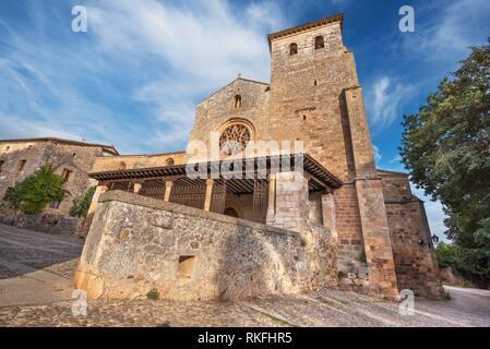 San Cosme Collegiate Church, Covarrubias, Burgos, Spain. It is a 15th century Gothic church. - Stock Photo