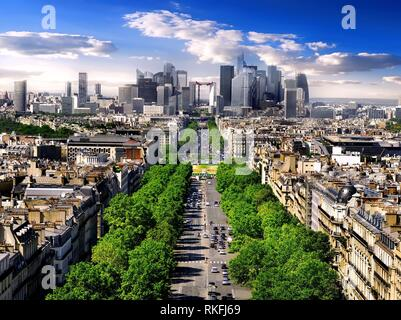 View on avenue de la Grande Armee and modern district la Defence from Arc de Triomphe in Paris, France. - Stock Photo