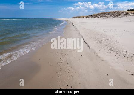 Wide beach in strict protection area of Slowinski National Park on the Baltic coast in Pomeranian Voivodeship, Poland. - Stock Photo