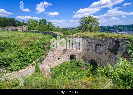 Round walls of 14th century castle in Terebovlia (Polish: Trembowla) small city in Ternopil Oblast (province) of western Ukraine. - Stock Photo
