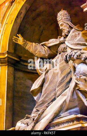 Pope Papal Blessing Sculpture Statue Saint Peter's Basilica Vatican Rome Italy. - Stock Photo