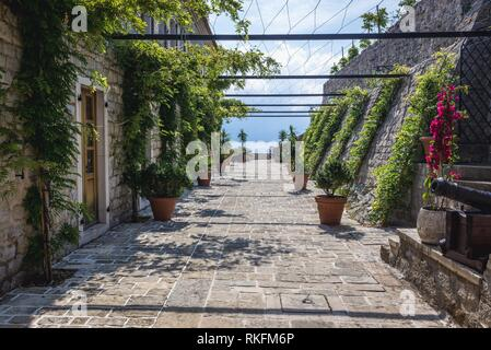 Inside the citadel on the Old Town of Budva city on the Adriatic Sea coast in Montenegro. - Stock Photo