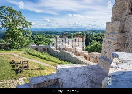 Ruins of Tenczyn Castle in Rudno village on the Trail of the Eagles Nests in Lesser Poland Voivodeship of Poland. - Stock Photo