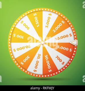 Colorful fortune wheel design. Realistic wheel of fortune illustration, isolated on green background. Vector illustration, EPS 10 - Stock Photo
