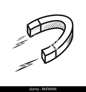 Sketch of a magnet isolated on white background. Vector illustration, EPS 10 - Stock Photo
