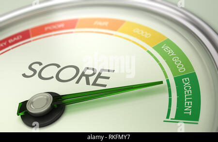 3D illustration of a conceptual gauge with needle pointing to excellent. Business credit score concept. - Stock Photo
