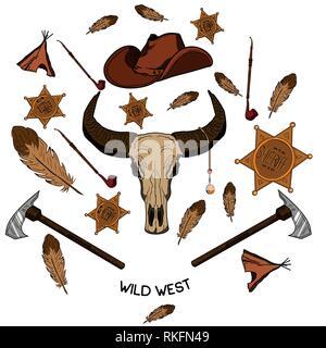 Set of wild west american indian designed elements. Vector illustration, EPS 10 - Stock Photo