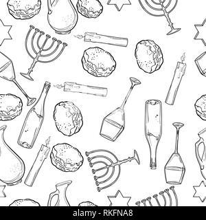 Seamless pattern with Hanukkah symbols. Vector illustration, EPS 10 - Stock Photo