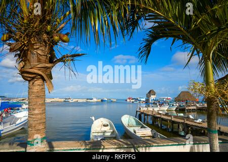 Chiquila port in Quintana Roo Mexico crossing ferry point to Holbox. - Stock Photo