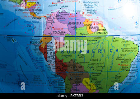 Map view of South America in a geographical globe - vignette . - Stock Photo