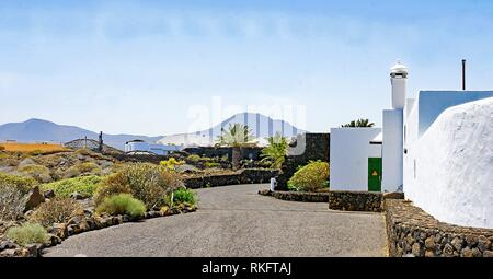 Canarian architecture in the Jameos del Agua, Lanzarote, Canary Islands, Spain. - Stock Photo