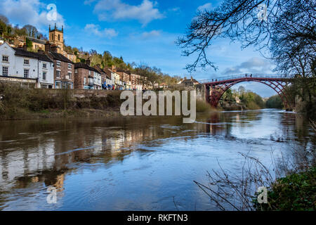 The Iron Bridge (after repainting in 2018) crossing the River Severn in Ironbridge Gorge, Ironbridge, Shropshire - Stock Photo