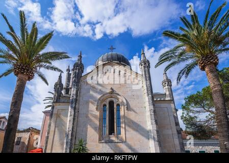Serbian Orthodox Church of Michael the Archangel on Belavista Square on the Old Town in Herceg Novi city on the Adriatic Sea coast in Montenegro. - Stock Photo