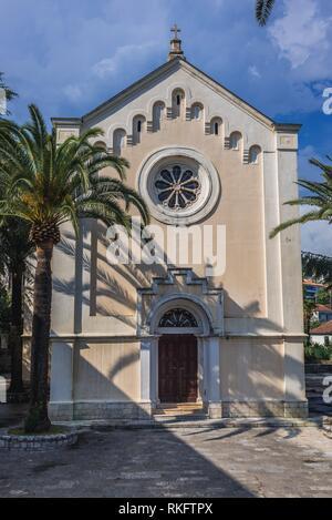 Catholic Church of Saint Jerome on Mica Pavlovica Square on the Old Town of Herceg Novi city on the Adriatic Sea coast in Montenegro. - Stock Photo