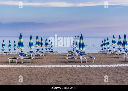 Beach in Becici town, part of so called Budva Riviera on the coast of Adriatic Sea in Montenegro. - Stock Photo