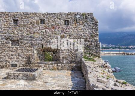 Citadel on the Old Town of Budva city on the Adriatic Sea coast in Montenegro. - Stock Photo