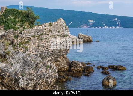 Ruins of Venetian citadel in Herceg Novi city on the Adriatic Sea Bay of Kotor coast in Montenegro. - Stock Photo
