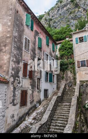 Buildings on the Old Town of Kotor coastal city, located in Bay of Kotor of Adriatic Sea, Montenegro. - Stock Photo