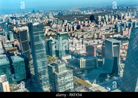 Many Towers Skyscrapers Guamao Central Business District Beijing China. - Stock Photo