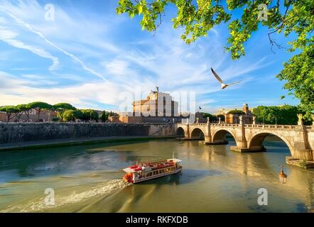 Castle and bridge of the Holy Angel in Rome, Italy. - Stock Photo
