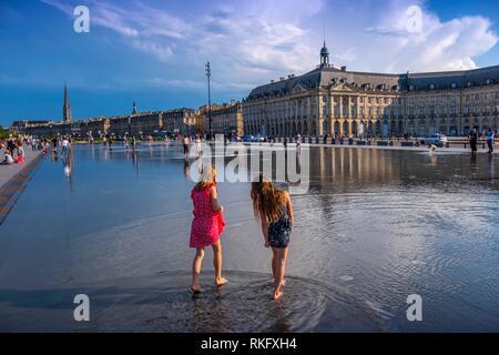 France, Nouvelle Aquitaine, Gironde, ''Miroir d´eau'', by Place de la Bourse, at Bordeaux. - Stock Photo