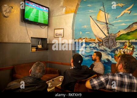 France, Nouvelle Aquitaine, Gironde, Football World Cup 2018, in a turkish Café at Bordeaux. - Stock Photo