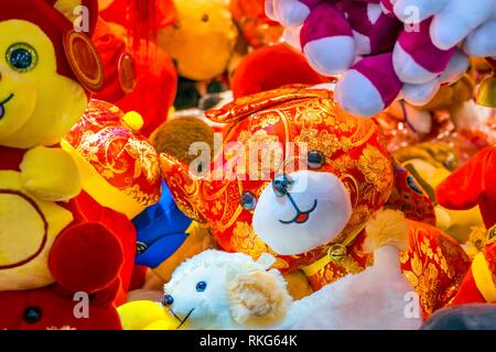 Dogs and more Dogs. Red Ancient Dogs Chinese Lunar New Year Decorations Beijing China. 2018 Year of the Dog in Chinese Lunar New Year. Decorations - Stock Photo