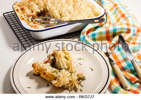 home made irish fish pie served on a plate. - Stock Photo