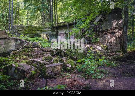 Collapsed building in Wolf's Lair - the headquarters of Adolf Hitler and the Nazi Supreme Command of Armed Forces in WW2 near Gierloz village, Poland. - Stock Photo