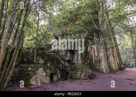 Hitler's bunker in Wolf's Lair, headquarters of Adolf Hitler and Nazi Supreme Command of Armed Forces in WW2 near Gierloz village, Poland. - Stock Photo