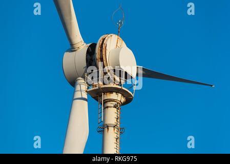 Detail of corrosion on windmill turbine located near the sea. - Stock Photo