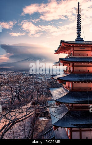 Famous Place of Japan with Chureito pagoda and Mount Fuji at sunset
