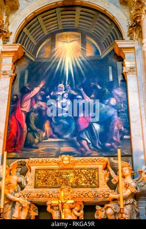 Titian Descent Holy Ghost Painting Altar Santa Maria della Salute Church Basilica Venice Italy. Competed in 1681 dedicated to our Lady of Health - Stock Photo