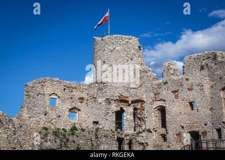 Ruins of Ogrodzieniec Castle in Podzamcze village, part of the Eagles Nests castle system in Silesian Voivodeship of southern Poland. - Stock Photo