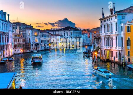 Colorful Grand Canal From Ponte Academia Bridge Buildings Ferry Boats Reflections Venice Italy. - Stock Photo