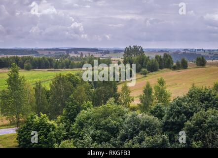 Aerial view from lookout tower in Stare Juchy village in Warmian-Masurian Voivodeship of Poland. - Stock Photo