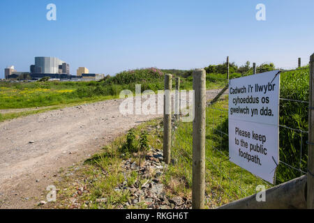 Bilingual sign on Isle of Anglesey Coastal Path re-routed around old Wylfa Nuclear Power Station for new Wylfa Newydd. Cemaes Anglesey Wales UK - Stock Photo