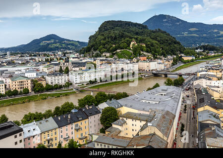 View of Salzach River with The Old Town to the right and the New Town to the left, taken from Museum der Moderne Monchsberg. Salzburg, Austria - Stock Photo