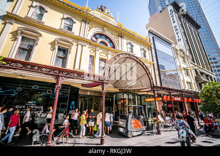 3rd January 2019, Melbourne Australia : Royal Arcade building entrance and facade view on Bourke Street in Melbourne Australia - Stock Photo