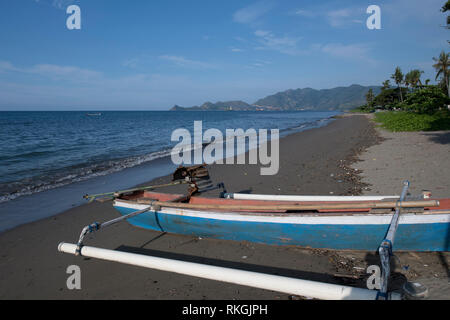 Beach, with fishing boats, Dili, East Timor (Timor Leste) - Stock Photo