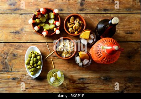 still life of typical spanish and italian snack. - Stock Photo