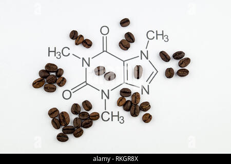 chemical structure of a caffeine molecule - Stock Photo