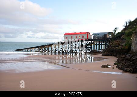 UK, Wales, Pembrokeshire, old and new Lifeboat Stations at Tenby. - Stock Photo