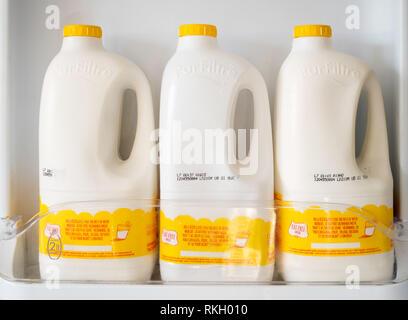Three containers of Arla B.O.B. fat free milk in a fridge door, England, UK - Stock Photo