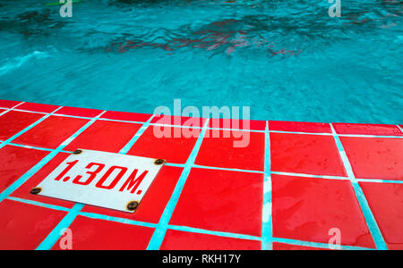 Deep level number show on border of pool